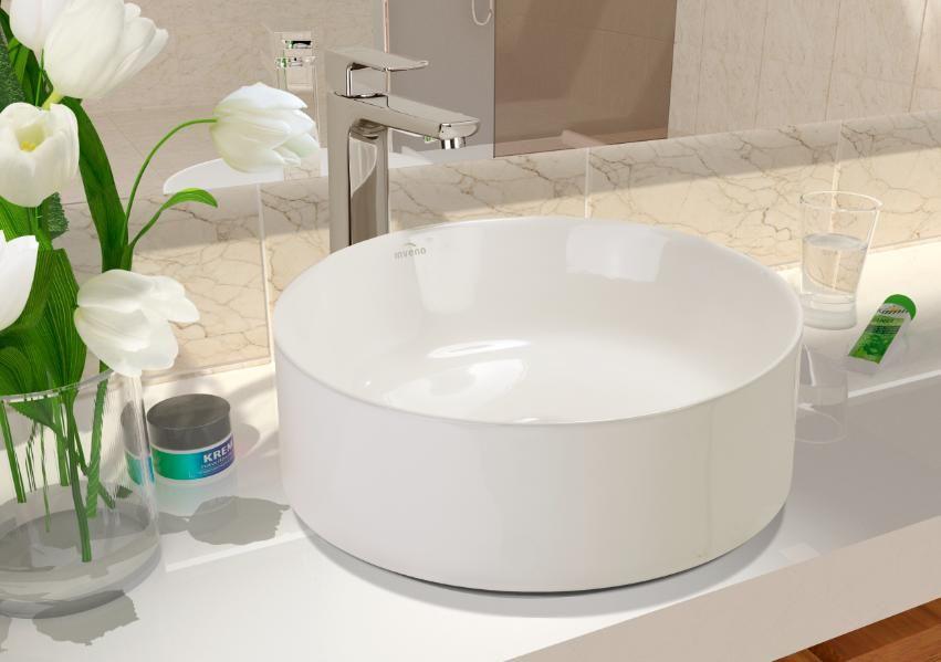 Okrągła umywalka nablatowa Keto z cienkimi rantami