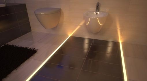 Oświetlenie LED w fugach w łazience Soled