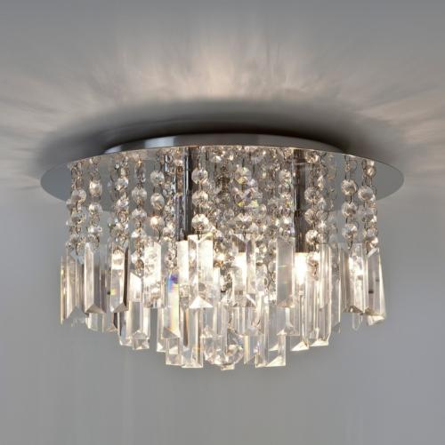 Oświetlenie łazienki plafon Evros  z kryształkami Aurora Technika Świetlna
