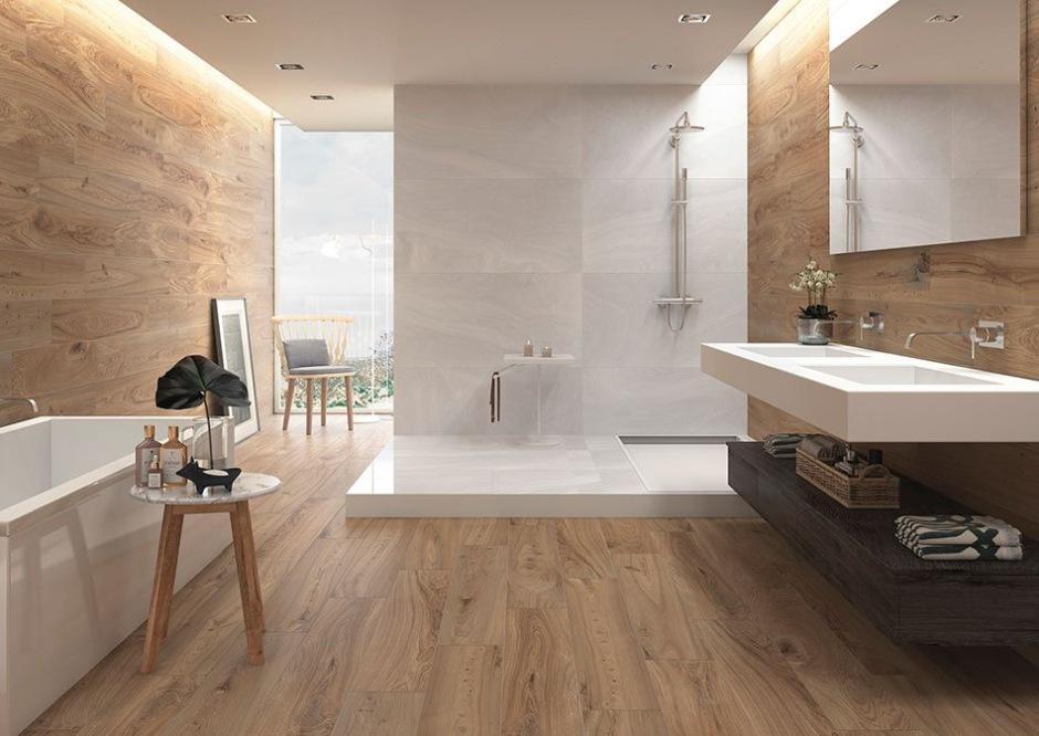 Płytki jak drewno w łazience
