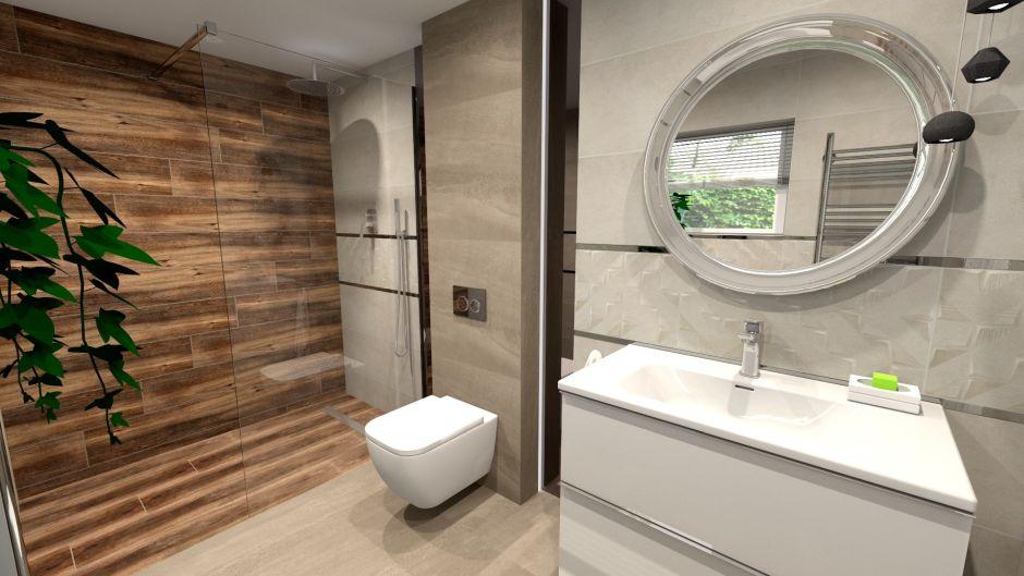 Strefa kabiny prysznicowej z płytkami jak drewno