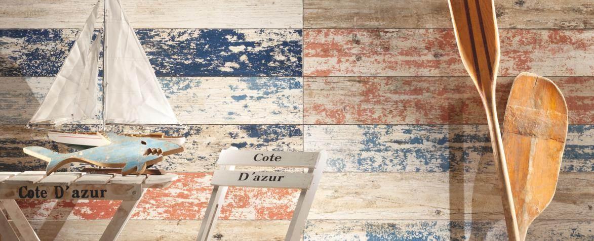 Płytki gresowe imitujące deski z łuszczącą się farbą z kolekcji Livingstone Shabby Chic Tubądzin Eurostandard