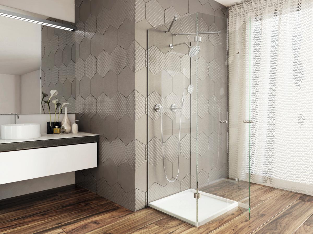 szklana kabina prysznicowa Glasimo plus szklane płytki Colorimo hexi