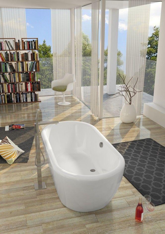 DUA – wanna akrylowa wolnostojąca i regał z książkami w nowoczesnej łazience
