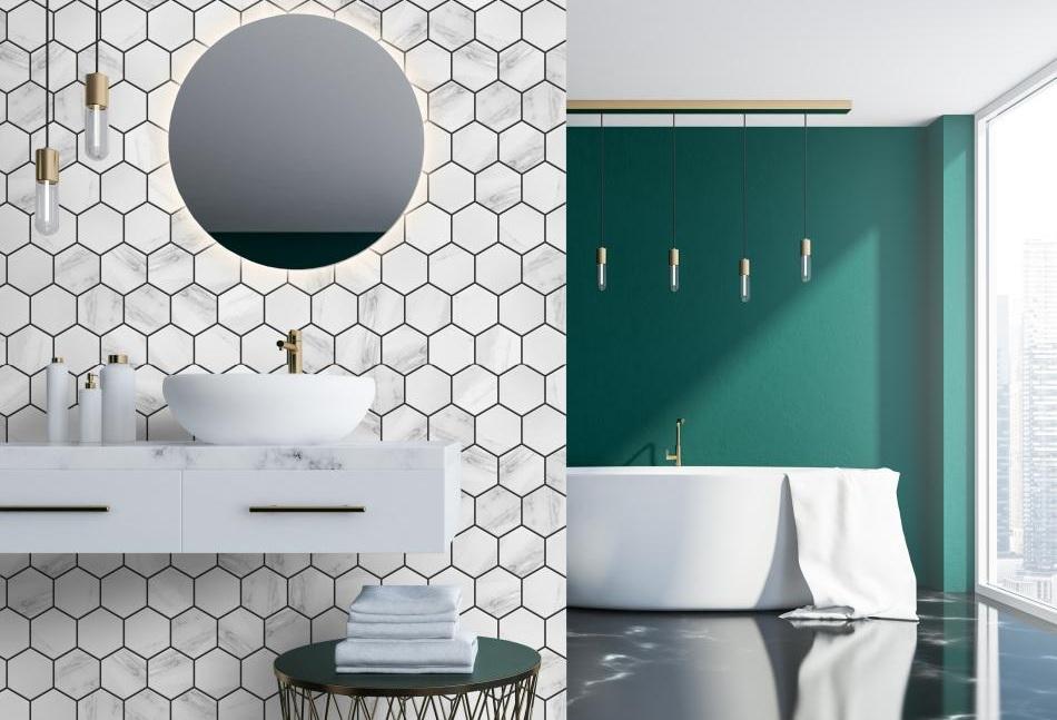 Rodzaje płytek łazienkowych - mozaika heksagony marmurowe