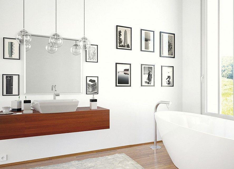 Ściana z ramkami - pomysły na oryginalną łazienkę