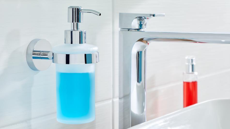 smooz tesa - wiszący dozownik na mydło w płynie mocowany bez wiercenia