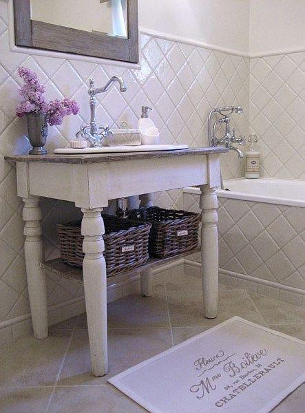 Konsola łazienkowa w stylu prowansalskim