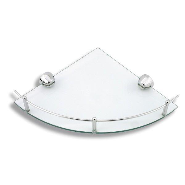 Akcesoria i dodatki do łazienki - półka szklana narożna z relingami