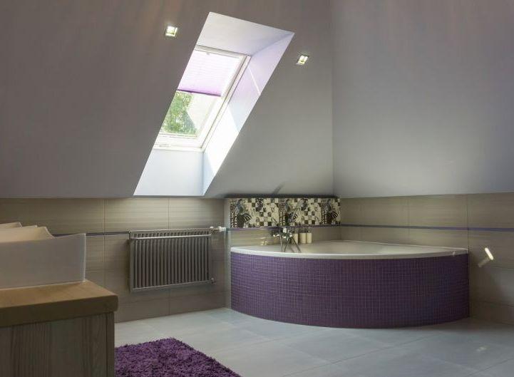 Łazienka z fioletem - aranżacja