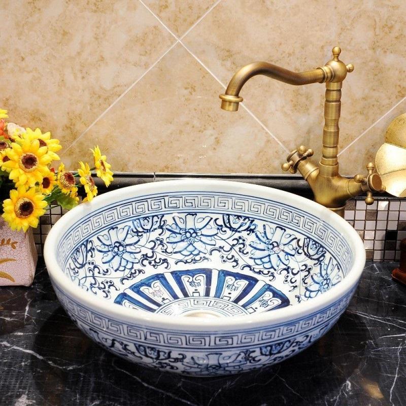 umywalka ceramiczna ręcznie malowana Retrowoda Prowansja