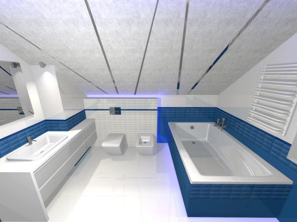 wanna w łazience na poddaszu pod skośną ścianą
