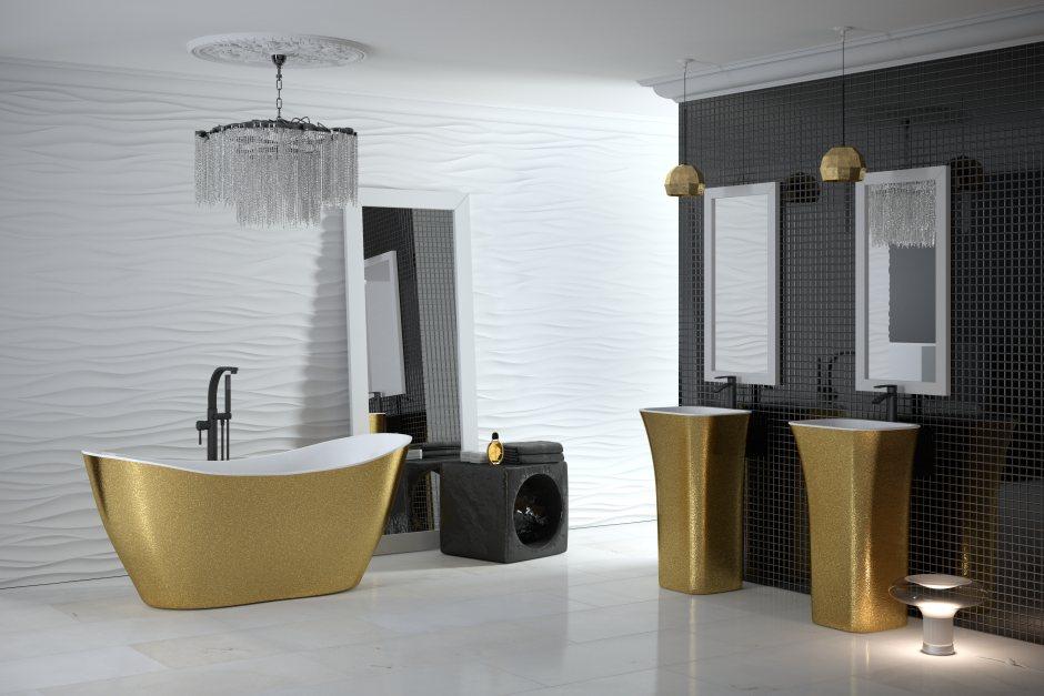 wanny wolnostojące i umywalki w wykończeniu Besco Glam gold