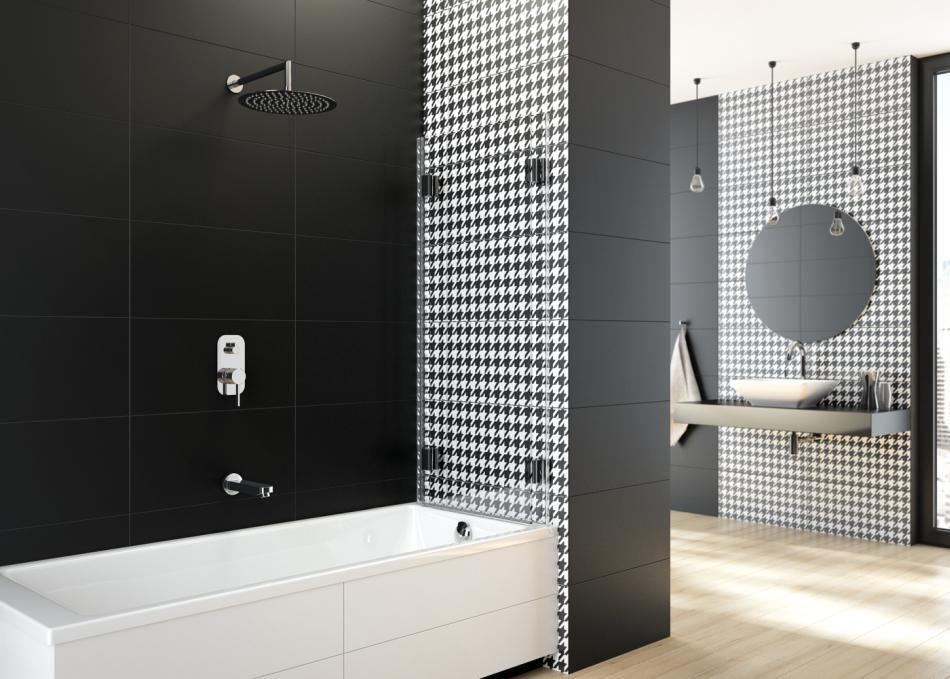 Wzór pepitka na ścianie w łazience