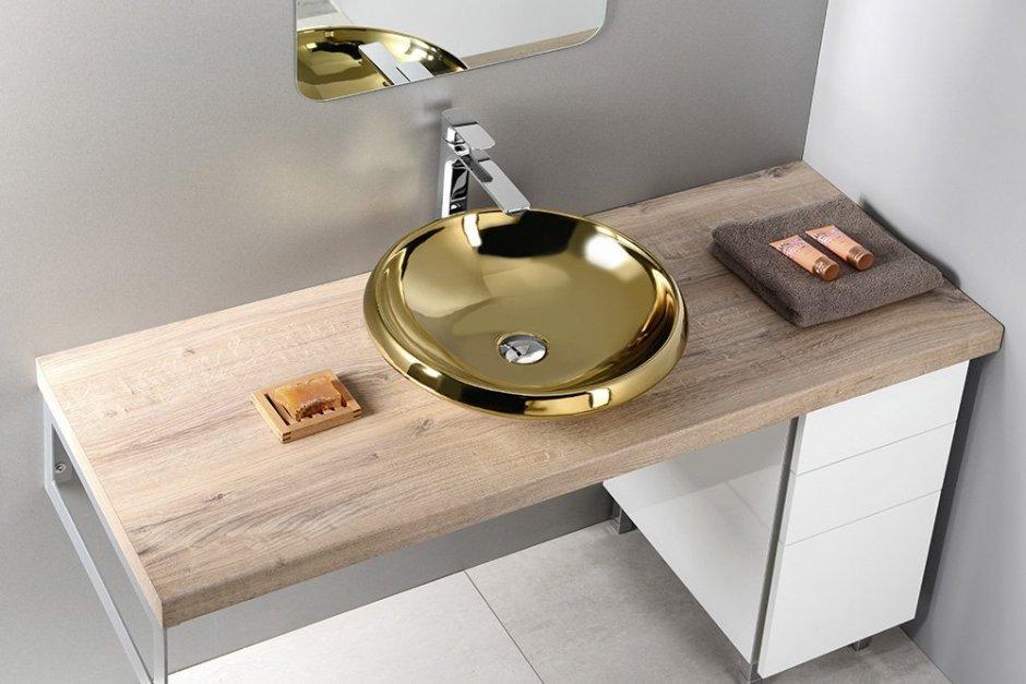 Złota umywalka nablatowa
