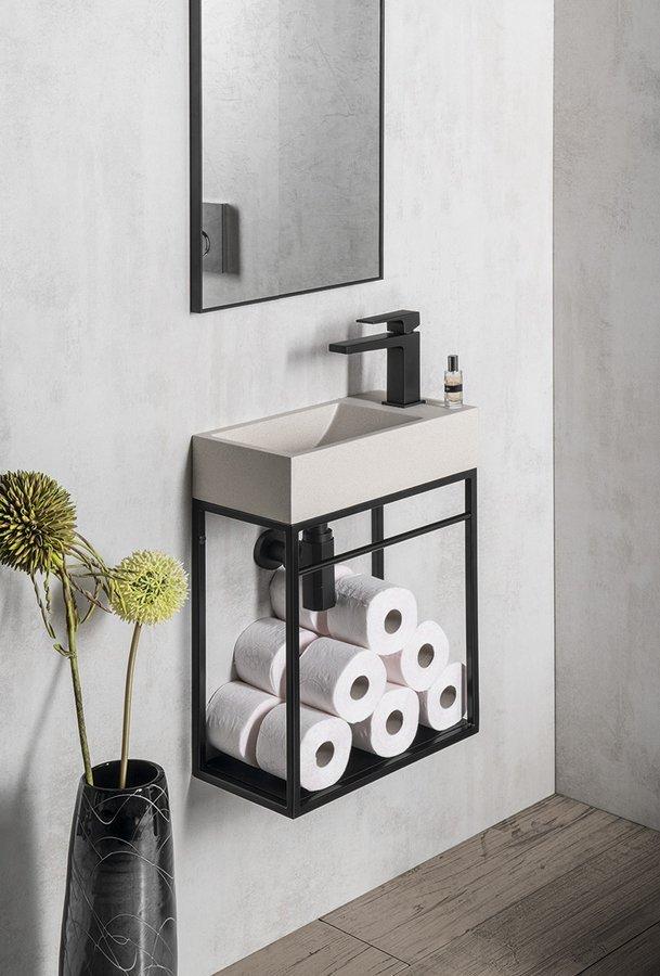 Konsola CREST z czarną półką i umywalka betonowa biały piaskowiec CREST R