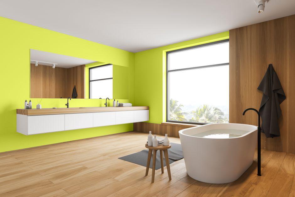 Łazienka zielona kolor świeży turmalin