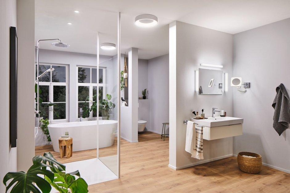 Oświetlenie w dużej łazience - podział na strefy