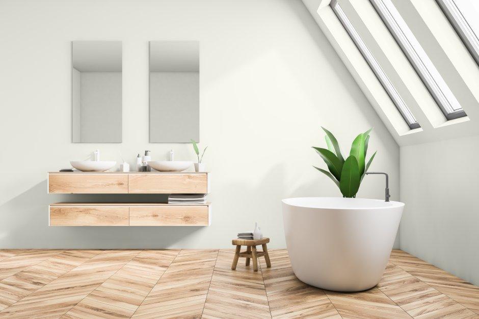 Drewno w skandynawskiej łazience na poddaszu