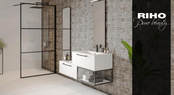 GRID - czarne kabiny prysznicowe od RIHO Polska